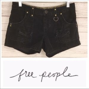 Free People Corduroy Cargo Shorts Black Sz 28